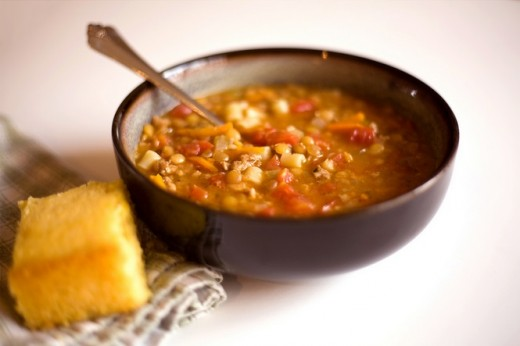 Lentil and Sausage Soup with Golden Sweet Cornbread (click link for recipe)