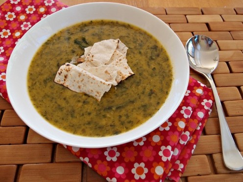 Curried Red Lentil Soup with Toasted Mountain Bread Chips (click the link for recipe)