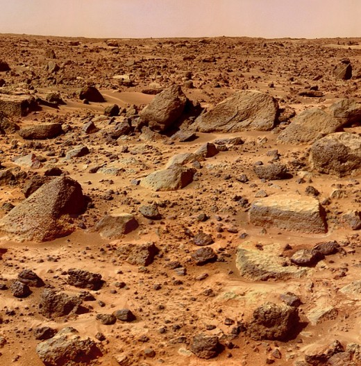 The surface of the Red Planet is barren and rocky.  It was once believed that there were canals on Mars, which was used as evidence to argue that there was intelligent life.  The canals was later found to be the result of an optical illusion, however