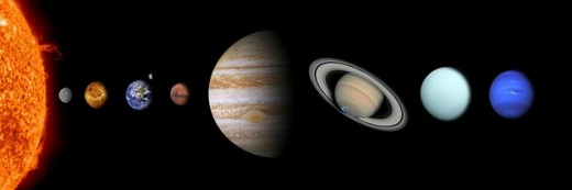 Image illustrating the order of the planets and their relative sizes compared with each other.  Jupiter is the fifth, and by far the largest planet.  It is located between Venus and Saturn.