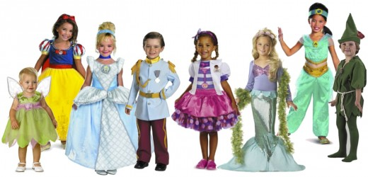 Have a Magical Disney Halloween: L to R: Disney Fairies Tinker Bell Costume, Story Book Snow White, Cinderella, Prince Charming, Disney Doc Mcstuffins Tutu, California Costumes Little Mermaid, Aladdin Jasmine Sparkle, Peter Pan. Available at
