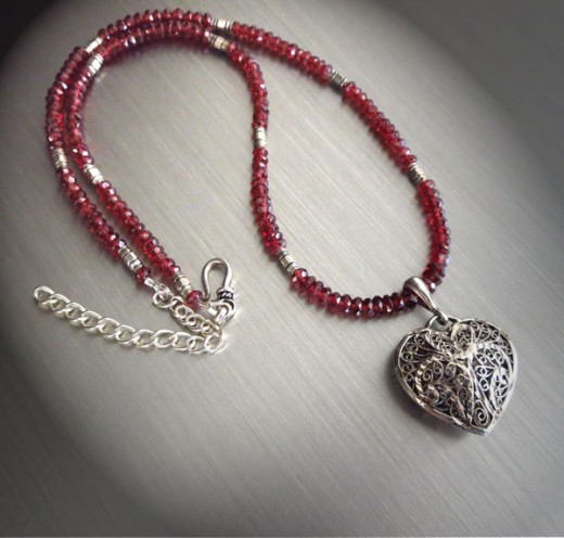 Garnet and Silver Heart Necklace