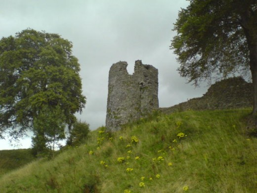 A tower viewed from below Kendal Castle.  The stronghold was likely built in the late 12th century as the home of the Lancaster family.  Its most famous residents, though, were the Parr family, who inherited the castle during the reign of Edward III.