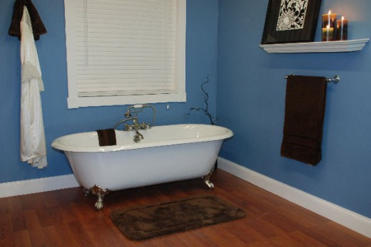 A cast iron bathtub with porcelain interior. Still popular in antique styled homes with a longing to return to the days of the past.