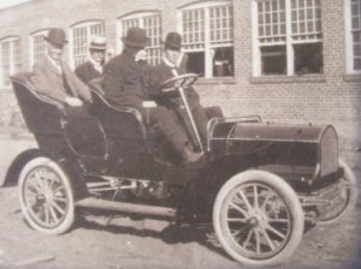 "This is the first Buick ever created back in 1904 called the Model B Buick.  Picture in front of the ""Buick Motor Co. Engine Works"" on west Kearsley St. in Flint Michigan."