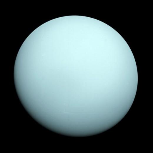 Photo of the planet taken by Voyager 2 in 1986. Voyager 2 also discovered the moons of Voyager 2 also discovered the moons Cordelia, Ophelia, Bianca, Cressida, Desdemona, Juliet, Portia, Rosalind, Belinda, Perdita and Puck.