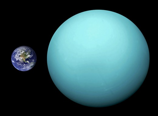 Uranus is much bigger than Earth as this comparison image demonstrates.