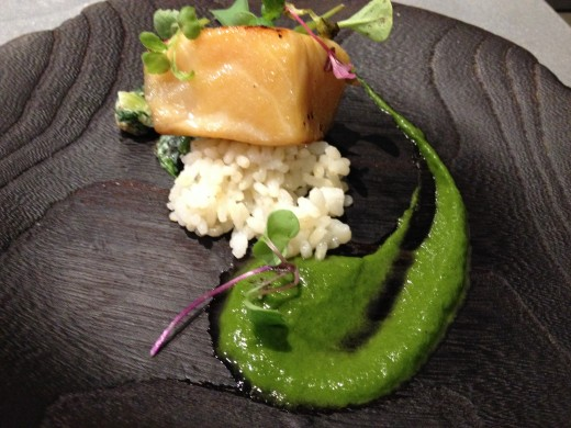 Fish~ Yuan grilled sea bass, Green beans, Mizuna mixed with Sesame sauce, Brown rice, Kale and watercress smoothie.