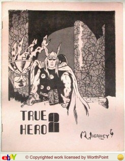 Here's the cover, by Mark Wheatley before his Mars success, of my 2nd issue of True Hero.  The day I went to press the print shop only had pink cover stock on hand... sheeeesh.