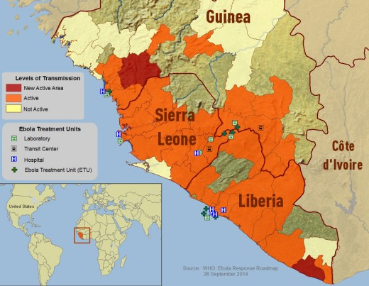 Map of West Africa's outbreak