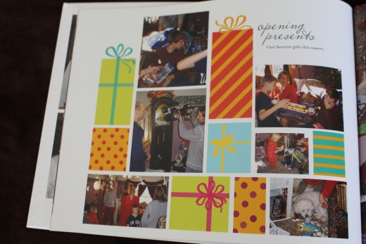 Lots of options to snazz up your photo book like the Christmas presents seen here.