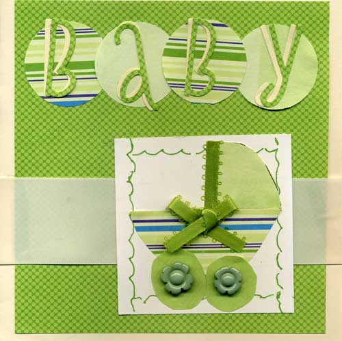New Baby Greeting Card in Shades of Green