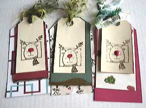 Easy Christmas Tags with Rudolph