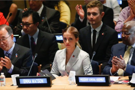 Emma Watson at the UN in New York before her speech on gender equality.