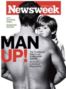 This Newsweek magazine cover displays a social mindset that men are either strong and leaders, or weak and followers.