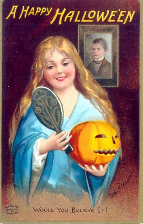 A postcard depicting a young girl hoping to see her future husband