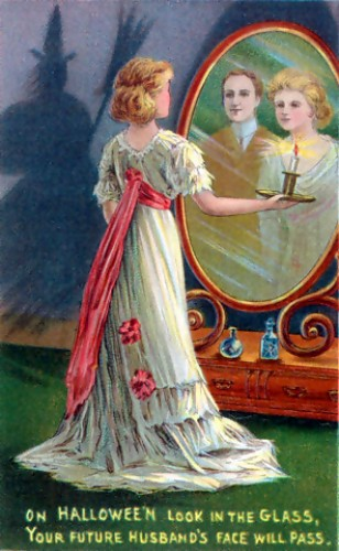 Another postcard, this one depicting a woman gazing into the mirror in hopes of learning her future and weather she is to marry before she dies .
