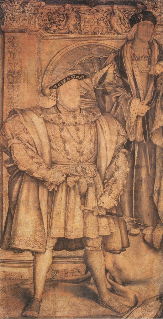 Henry VIII and Henry VII, cartoon for wall painting in Whitehall, 1537. Pen in black, with grey, brown, black, and red wash; paper mounted on canvas, 257.8 × 137.1 cm. National Portrait Gallery, London.