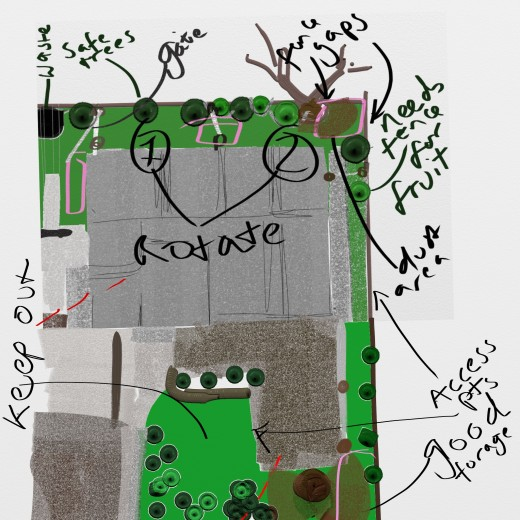 I use ArtRage as a sketchpad sometimes; it lets me take notes and draw diagrams with LAYERS for when I mess it up. Here I'm trying to plan whether or not I can fit in a chicken run, using different media as a code for different plants/structures.