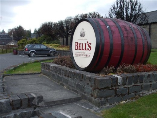 Bell's Scotch Whisky barrel at the Blair Athol Distillery in Pitlochry.  Bell's portray themselves as the UK's most popular blend.  Established in 1825, Bell's incorporates 35 different malt and grain whiskies.