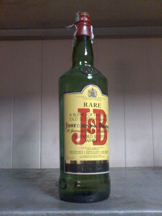 Bottle of J&B Scotch.  The second most popular in the world, J&B incorporates Speyside single malt whiskies in its blend.  The J&B company was started in London in 1749, providing fine wine and spirits to the upper classes.
