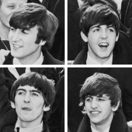 The Fab Four: John Lennon (t-l), Paul McCartney (t-r), George Harrison (b-l) and Ringo Starr (b-r)