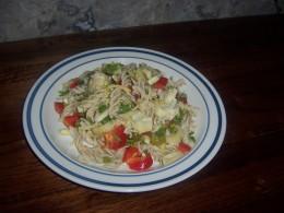 Gluten free rice pasta salad.