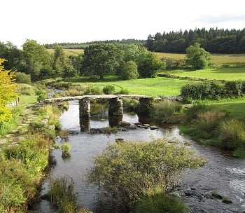 The ancient Clapper Bridge at Postbridge