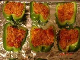 Stuffed Pepper Halves ready for baking or freezing