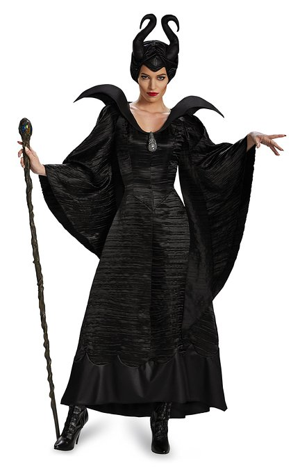Women's Disney Maleficent Movie Christening Gown Deluxe Halloween Costume, Black