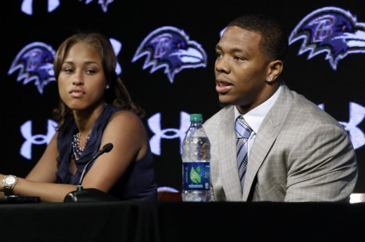 Ray Rice with Janay Palmer speaking to the media for the first time since knocking Palmer out in an elevator in Atlantic City.