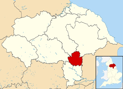 A map showing the York unitary authority in relation to the rest of Yorkshire