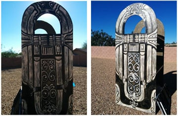 Front & Back sides of a huge plywood jukebox pre-paintjob built for the White Elephant Parade in Green Valley, AZ 2014.