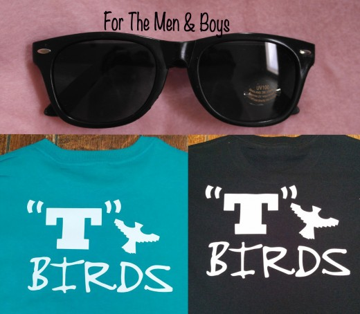 I made shirts for boys & men in a style from Grease. I ordered Wayfarer glasses, too.