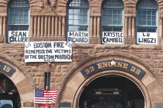 The fire station a few blocks down Boylston street from the bombing site.