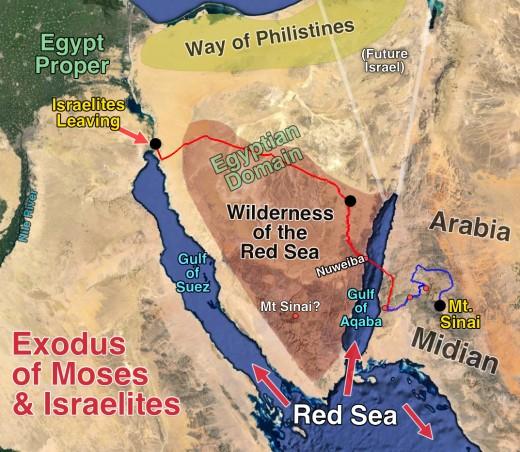 Exodus from Egypt across Sinai Peninsula, across the Red Sea at Nuweiba to Midian (aka Arabia)