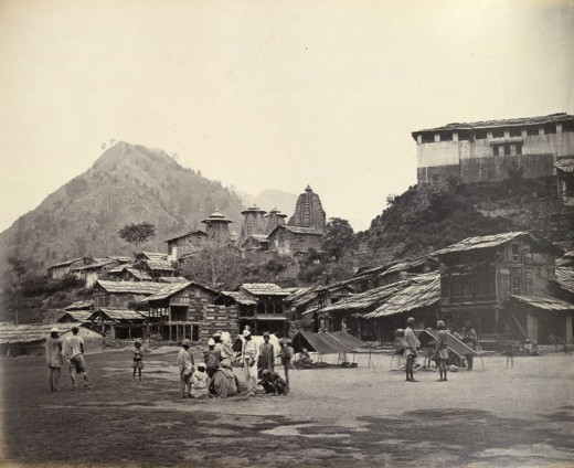 The Chamba Bazar, Temples and the venue of Minjar Fair in 1860 AD.