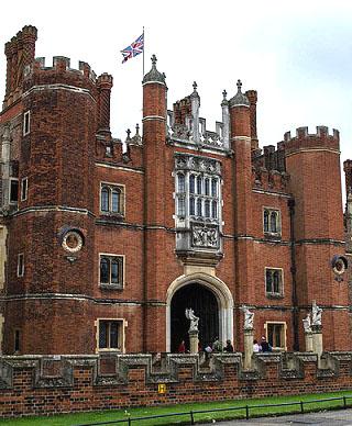 The main entrance to Hampton Court Palace