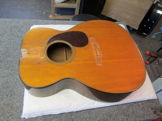 This is the body of my 1946 Martin 000-18 guitar after the neck and bridge were removed for resetting
