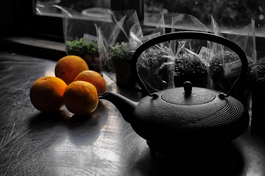 Japanese Tea Pot and Oranges