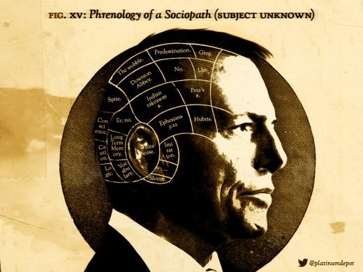 a tongue-in-cheek look at a sociopath's phrenology
