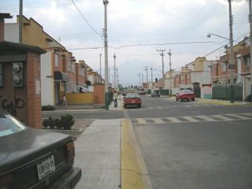A street in a slum area.