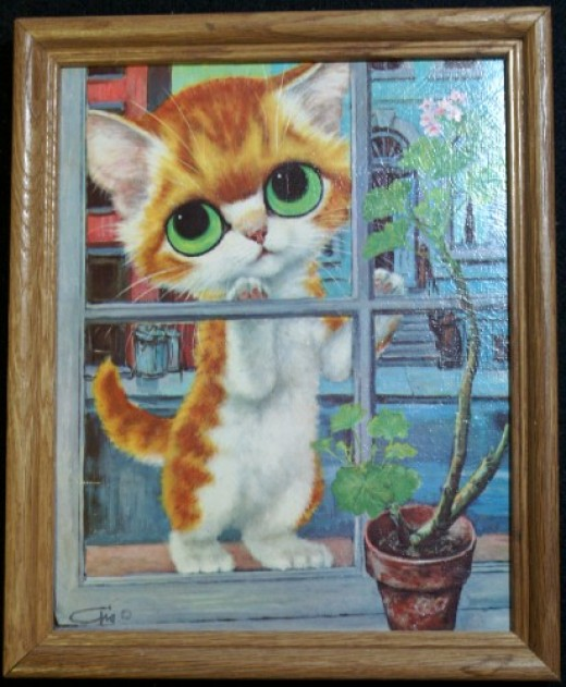 """This is one of several Gig """"pity kitty"""" prints that I own. Doesn't it just break your heart?"""