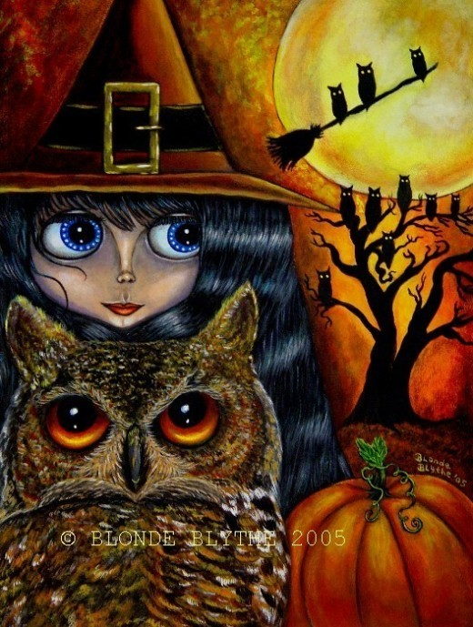 """Halloween Owl Witch"" by Blonde Blythe"