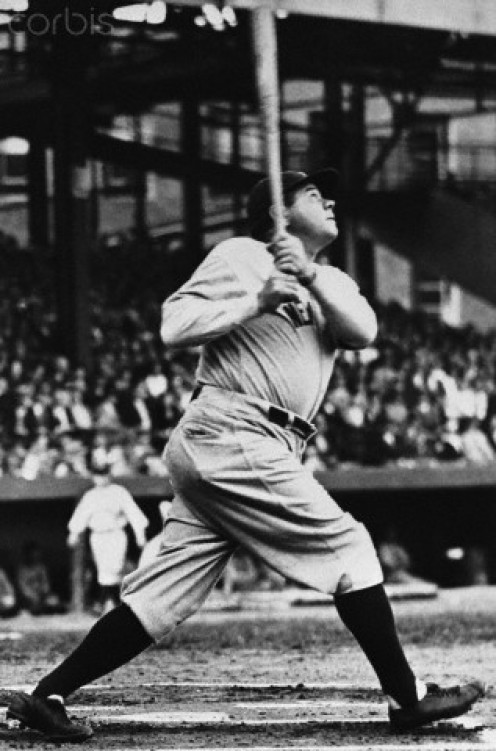 Babe Ruth in action