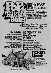 Poster for the first Glastonbury Festival, 1970