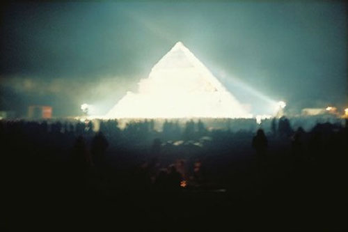 Pyramid stage at the second Glastonbury festival, designed by Bill Harkin