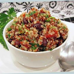 Quinoa with roasted corn, black beans and crab salad.