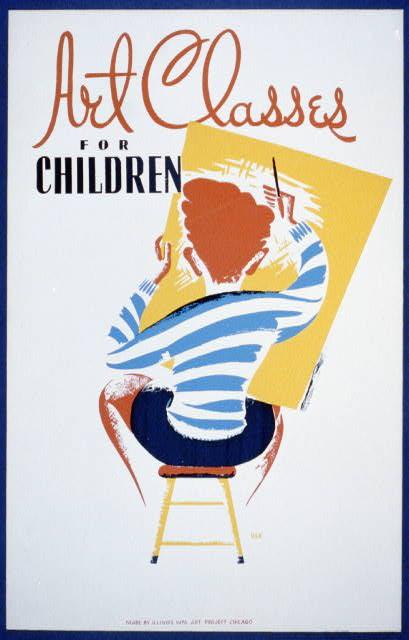 WPA Poster advertising art classes for children.