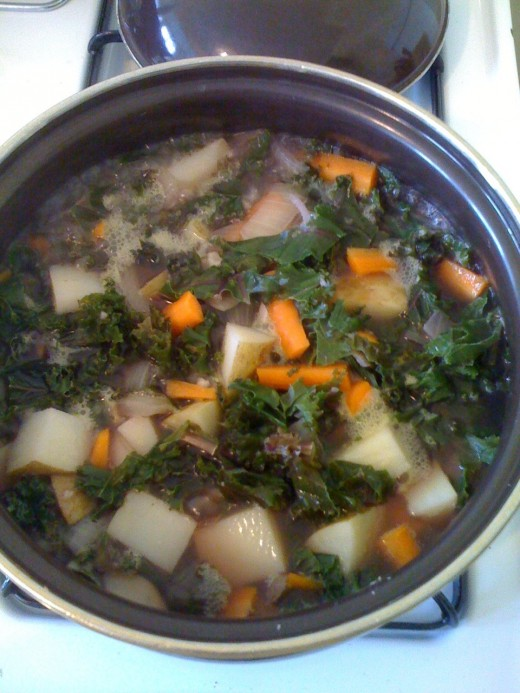 Look at all those colorful vegetables! Just need to add the cabbage and the spices, and let it simmer a bit